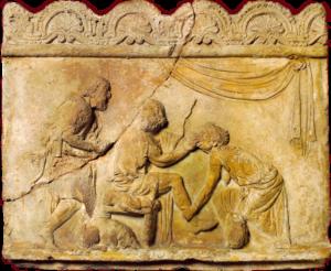 une iconographie représentant la scène d'Euryclée reconnaissant la cicatrice de son maître